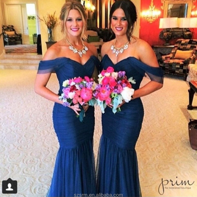2018 New Arrival Elegnat Royal Blue Bridesmaid Dress Long Chiffon Sweetheart Mermaid Short Sleeve Bridesmaid Gowns With Pleat