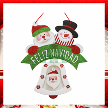 2017 hotsale movable foam FELIZ NAVIDAD Christmas hanging decoration with bell