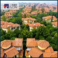 building materials villa IVON barrel clay tiles construction roof tiles trim tile