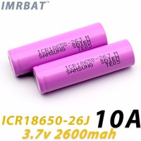 Rechargeable battery SDI ICR18650-26J M 2600mah 18650 3.7V li-ion battery 10A for flashlights and e-cigarettes
