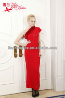 L-586 hot sale bright red color sleevless fur collar cashmere sweater dress