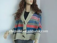 fashion100% acrylic Knitting jacquard shawl coat
