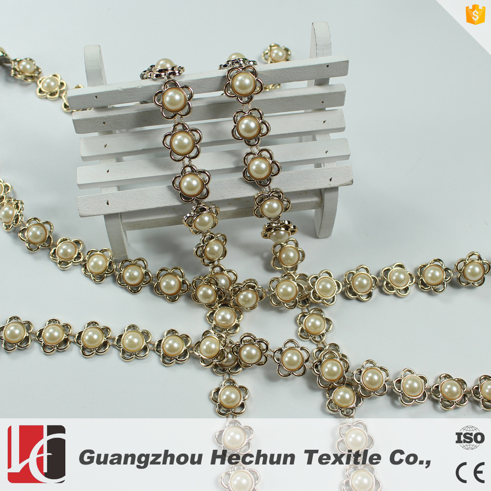 Wholesale pearl rhinestone crystal mesh trimming for decoration