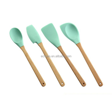 Customize color 4pcs bamboo handle silicone kitchen baking utensils set