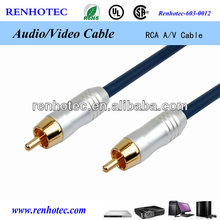 Gold Plated rca cable connector, rca to rca cable