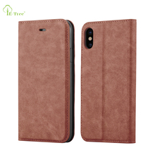 Magnetic Flip PU book leather case for iphone X, ultra thin invisible magnet flip cover cases for iphone X