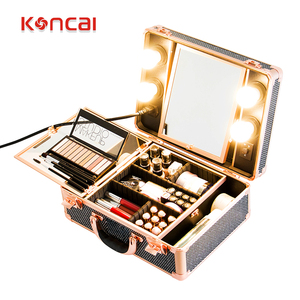 Koncai Best Selling Vanity Case with LED Lights Aluminum Suitcase Portable Makeup Case
