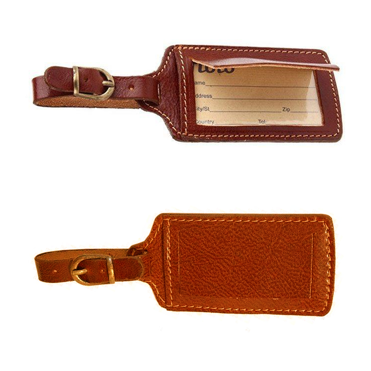 Manufacture 100%genuine leather travel labels name tags for suitcases