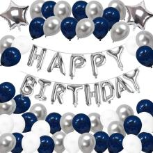 Hot Selling High Quality Blue White Happy Birthday Balloon Foil Latex Kit