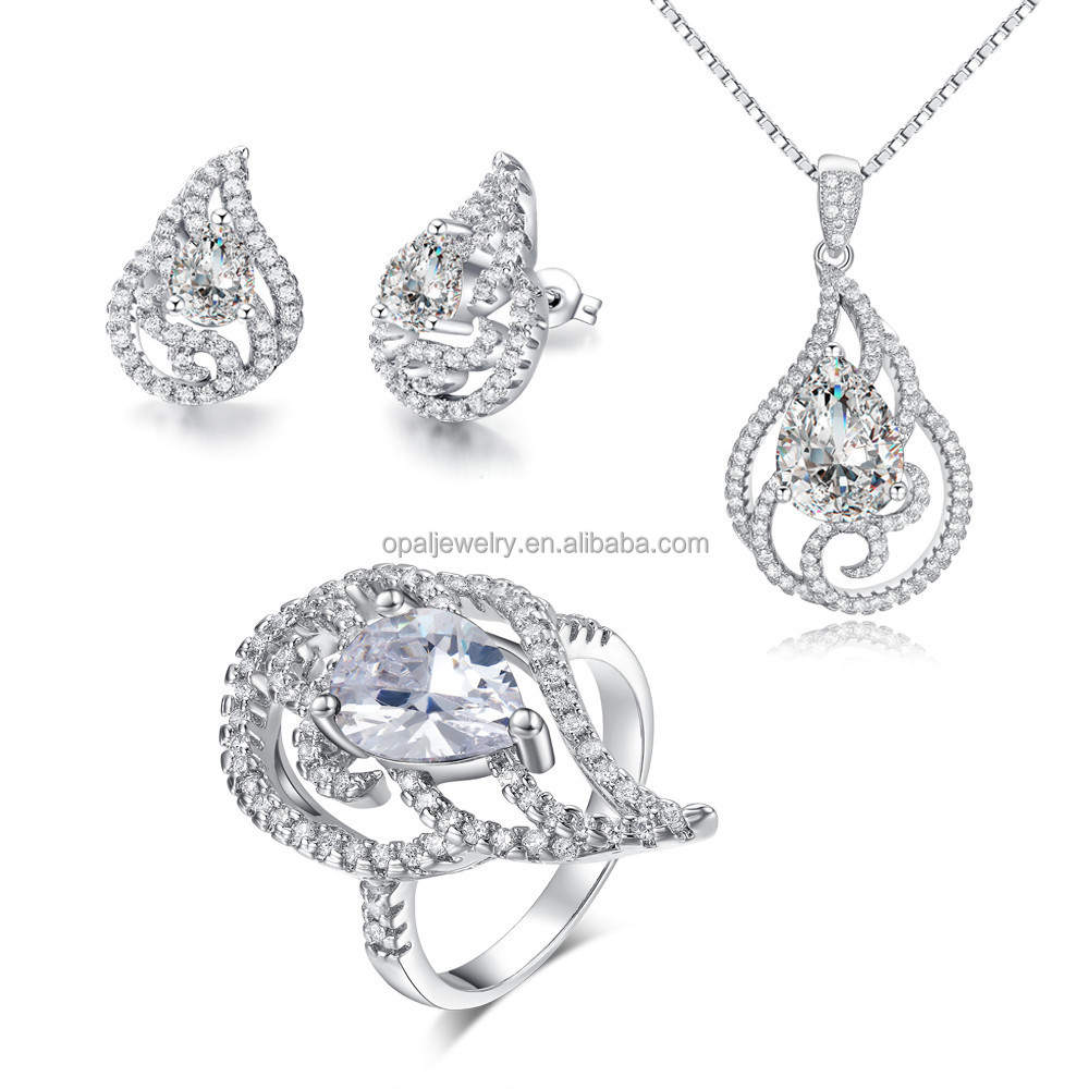 Alibaba China White Zircon Platinum Plated 925 Bridal Jewelry Set