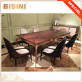 New Arrival Luxurious Italian Contemporary Antique Rose Gold Plating Brass and Wood Marquetry Top Dining Room Furniture Set