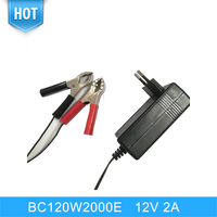 Wholesale 12V 2A Red And Black Alligator Clips 3 Stage Charging mold Wall Charger Smart Lead Acid Battery Charger