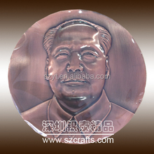 Chairman Mao logo custom large medal with red copper plating