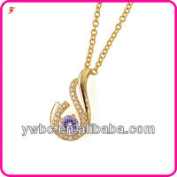 Long gold chain cz necklace myanmar jewellery (A119571)
