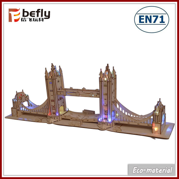 Large 3D wooden tower bridge puzzle with light