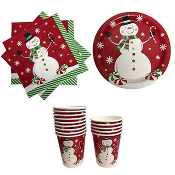 Different Kinds of Christmas Party Tableware with Paper Plate, Paper Cup and Paper Napkin