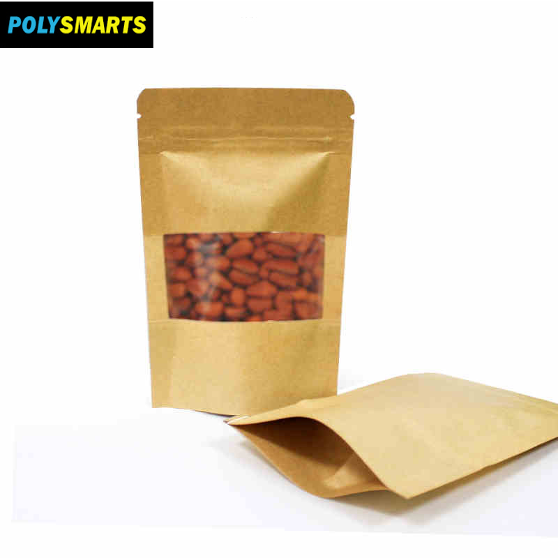 China Supplier Logo Printing Brown Kraft Paper Bag With Zip Lock For Coffee Bean,Dried Food