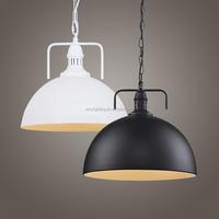 LOFT Vintage Black/White Metal Shade Pendant Lamp Ceiling Light Hanging Fixture