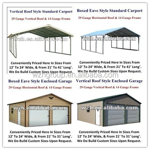 Sheet metal garage with manual or motor driven garage