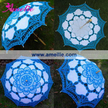 A0110 Cheap Handmade Blue Color Lace Parasol
