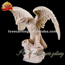 Marble carving white stone eagle for garden