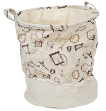 Paris themed Foldable Jute Drawstring Laundry Hamper Basket with Handle