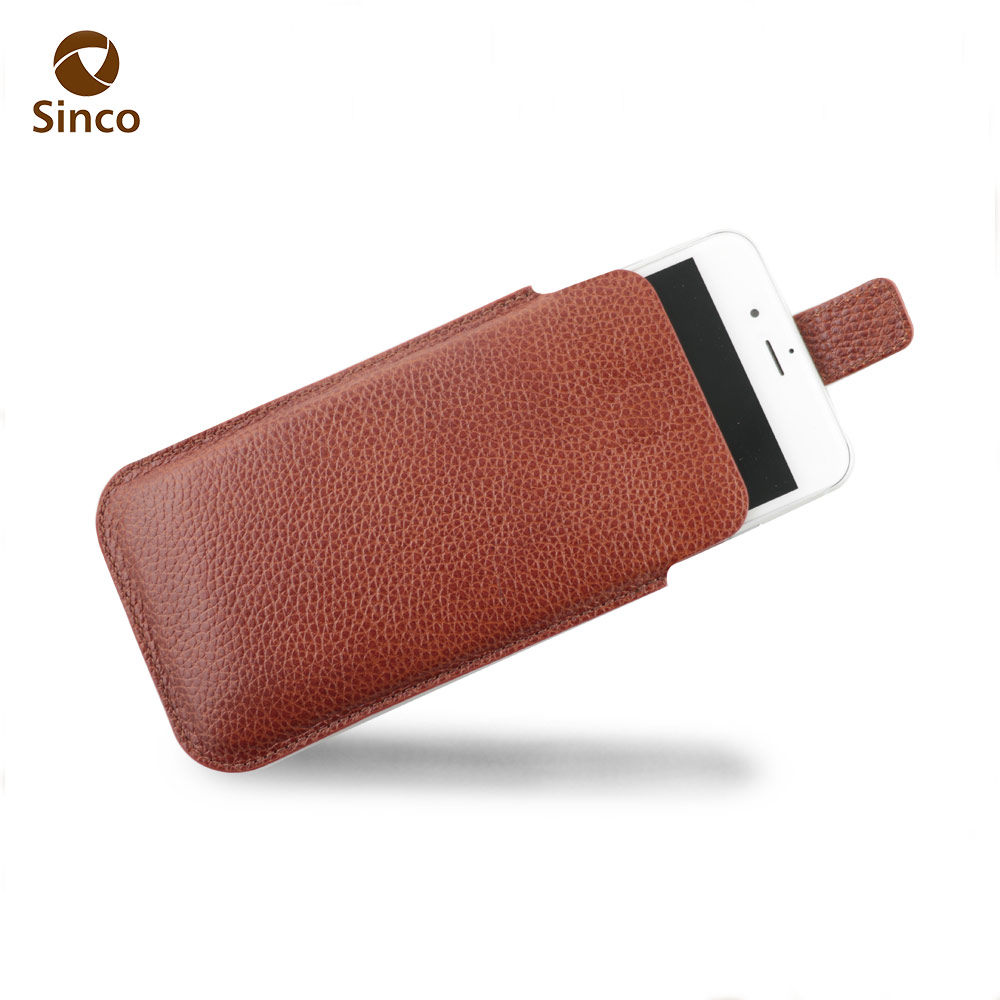 Universal mobile phone pouch sleeve style leather cell phone cases and pouches magnetic enclosure strap for iPhone 7 plus