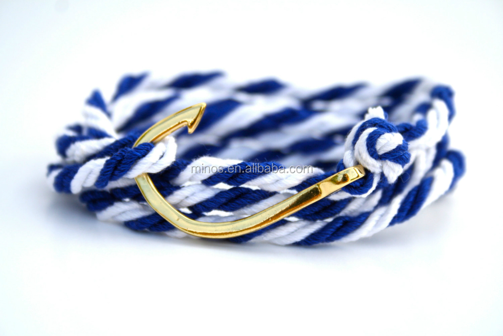 Nautical Cotton Fish Hook Bracelet ,Adjustable Blue and White Maritime Bracelet, Men's and Women's Anchor Bracelet