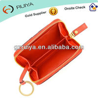 Leather Coin Changes Wallet Purse Pouch Orange PU leather Zip Around Coin Case purse with split key ring-JC-031