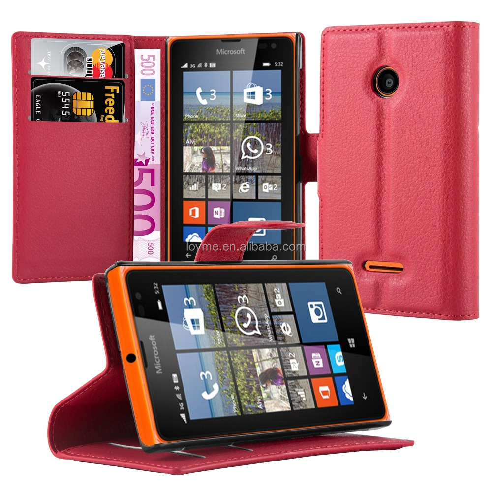 Premium Wallet Leather Moblie Phone Case Cover for Microsoft Lumia 532