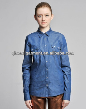 2015 latest trendy 100%cotton blue washed denim/cowboy casual shirts for women/ladies with spread collar and two pockets