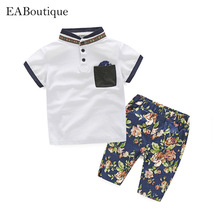 2017 Fashion Europe and the United States style boy White shirt with Hawaiian style pants suit