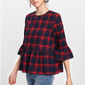 Women's Flounce Sleeve Plaid Blouses Smock Tops