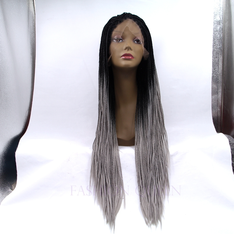 Free Shipping Micro Braided Wigs Ombre Color Black To Grey Wig Heat resistant Synthetic Lace Front Braided Wigs For Black Women