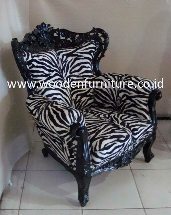 French Style Sofa Zebra Animal Print Antique Reproduction Chair Solid Mahogany Vintage Europe Living Room Sofa Home Furniture