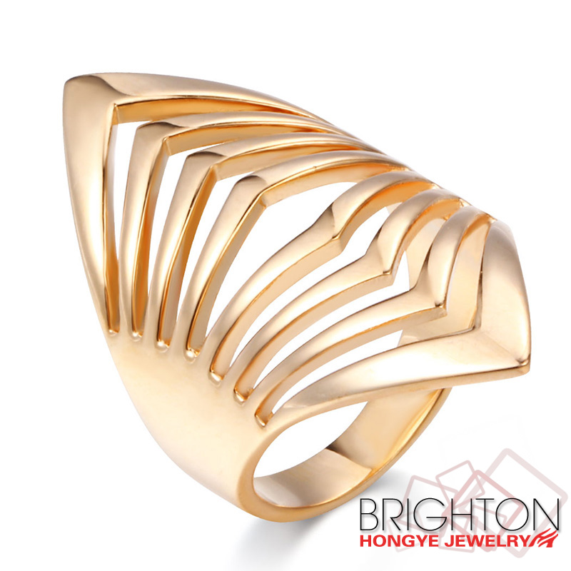 Cheap New Design Hollow Gold/Silver Innovative Jewelry Alloy Ring 1-1857-2600