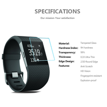 Sample free 99% clear transparency 9H screen protector for fitbit surge anti scratch resistance tempered glass