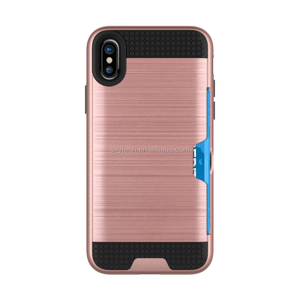 Shenzhen factory For Apple Iphone x ,Colorful TPU+PC Wallet Card Slots cell phone Case