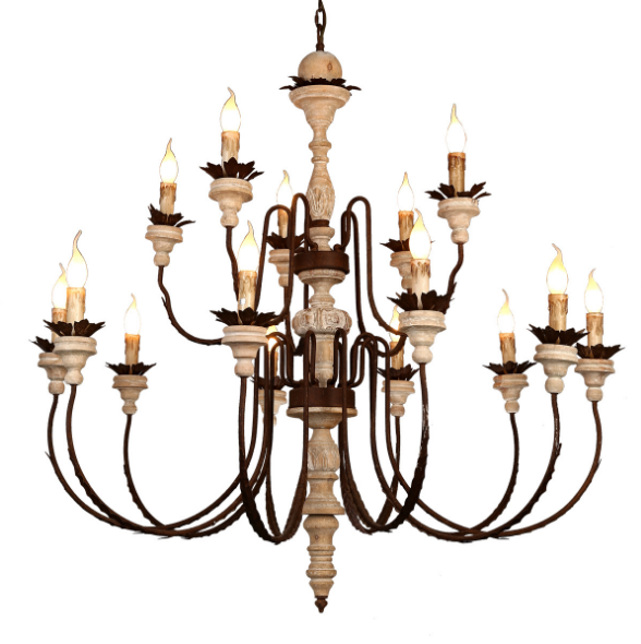 American style Antique candle pendant lighting big Wooden chandelier for shop home hotel