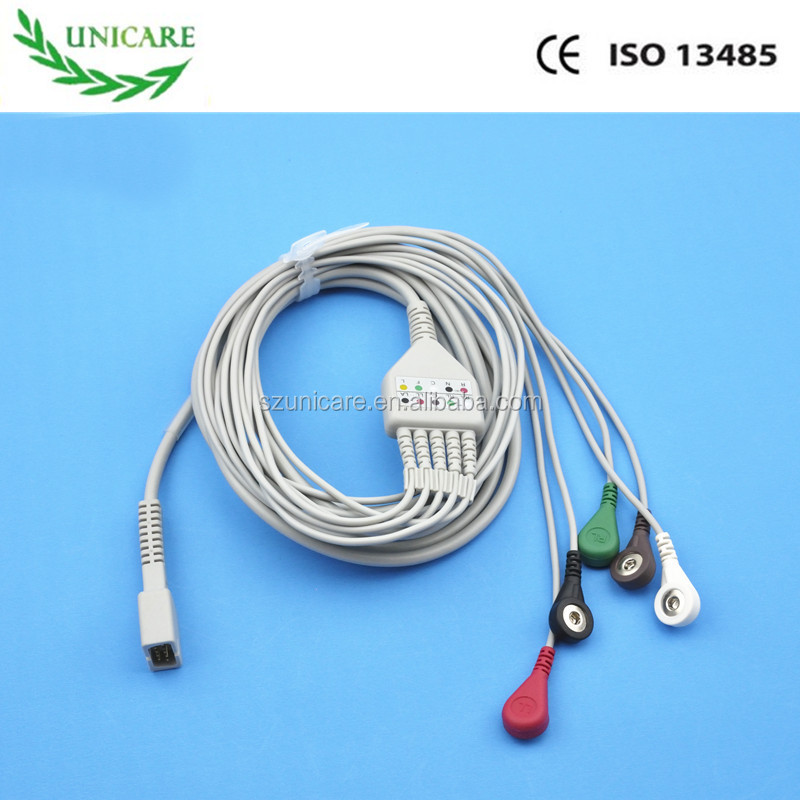 MEK MP1000, MP600, MP500 Compatible ECG Cable, 5 lead, DB9pin