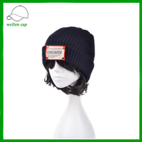 wholesale beanies design your own fixed label polyester winter knitted hat