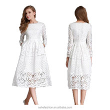 Guangzhou Factory Fashion Hollow Out Elegant White Lace Party Dress Women Long Sleeve Casual clothing