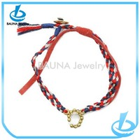 Fashion colorful braid leather cord handmade bracelet Chinese hot sale knot bracelet