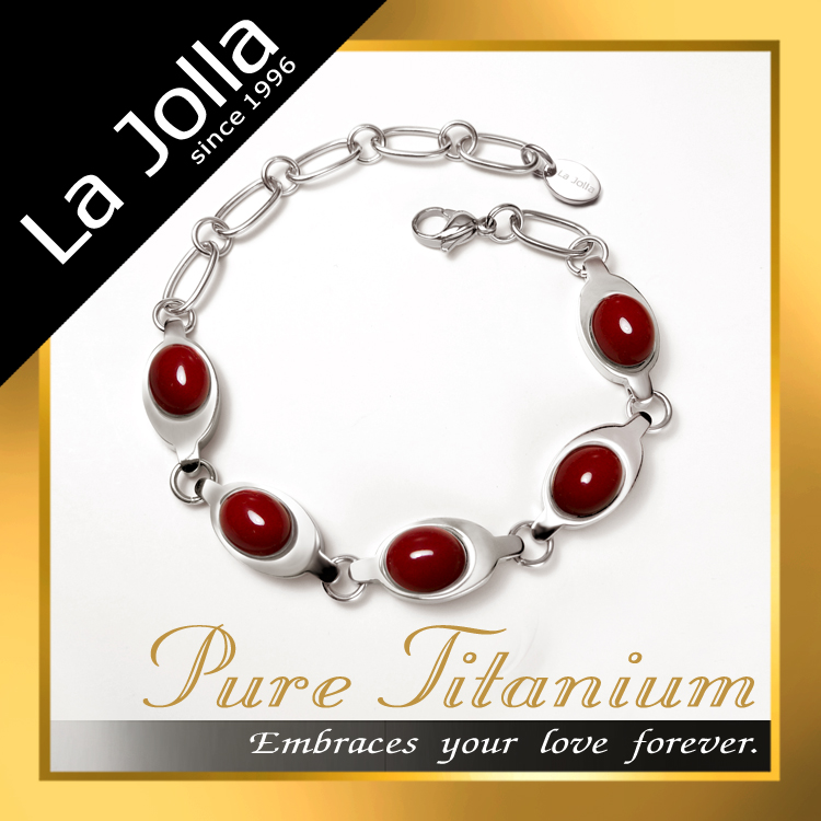 Luxury red coral gemstone magnetic titanium bracelet for women