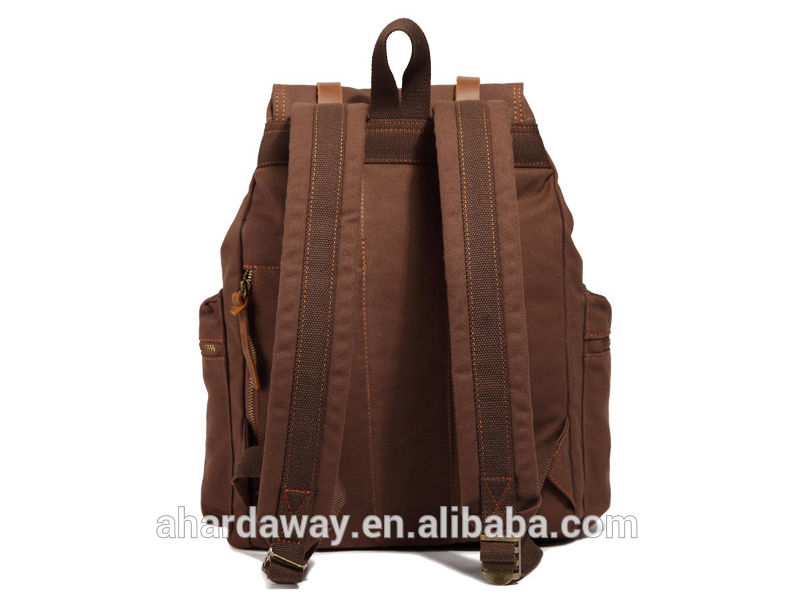 China high quality portable vintage canvas backpack