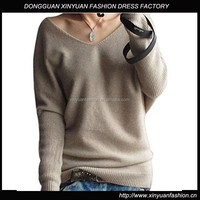 Women's long Loose Batwing Sleeve Wool Sweater latest design winter sweater for women