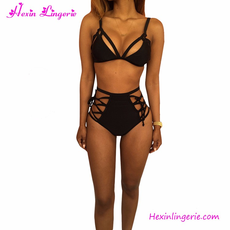 2018 Sexy Hollow Out Strappy Beach Wear Black Two Pieces Women Bathing Suits