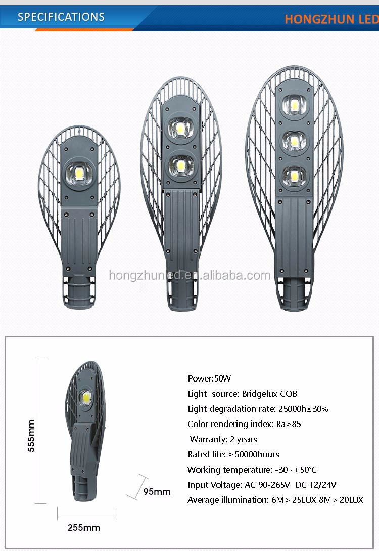 Outdoor ip65 cobra head bridgelux cob 150 watt solar led street light price list