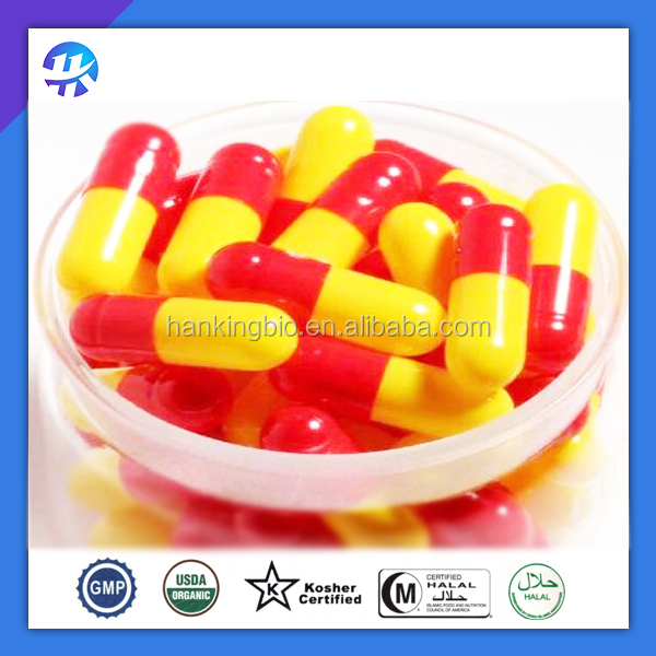 size 000, 00, 0, 1, 2, 3, 4 empty hard gelatin capsule/red and yellow capsules