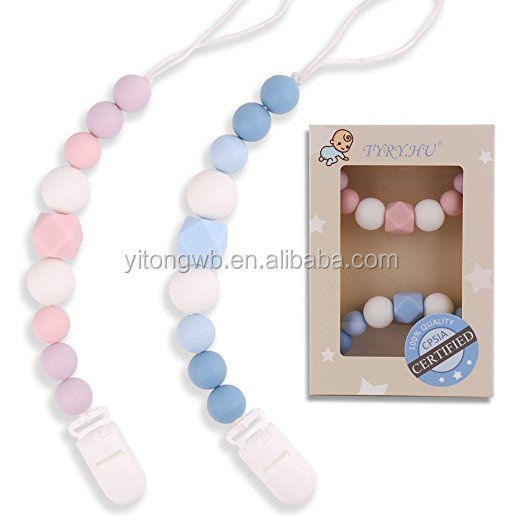Wholesale hot selling plastic baby pacifier chain clip baby pacifier clip with ribbon ,pacifier clip holder
